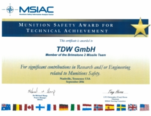 NOVEMBER 2016 // MSIAC AWARD FOR TDW